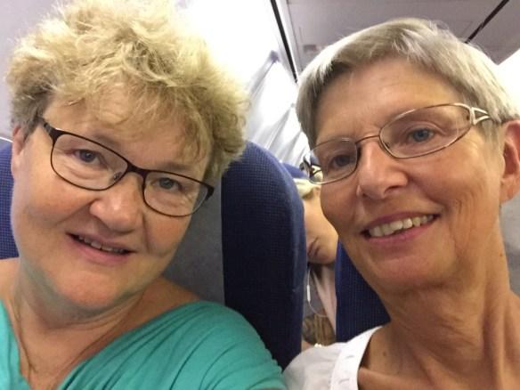 Lena och jag på väg till Rhodos i september 2015