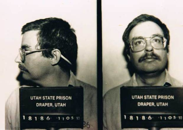 Mug shot taken in 1993. Authentic papers from William McLellin, which Hofmann had planned to forge, surface and become available from the LDS Church.