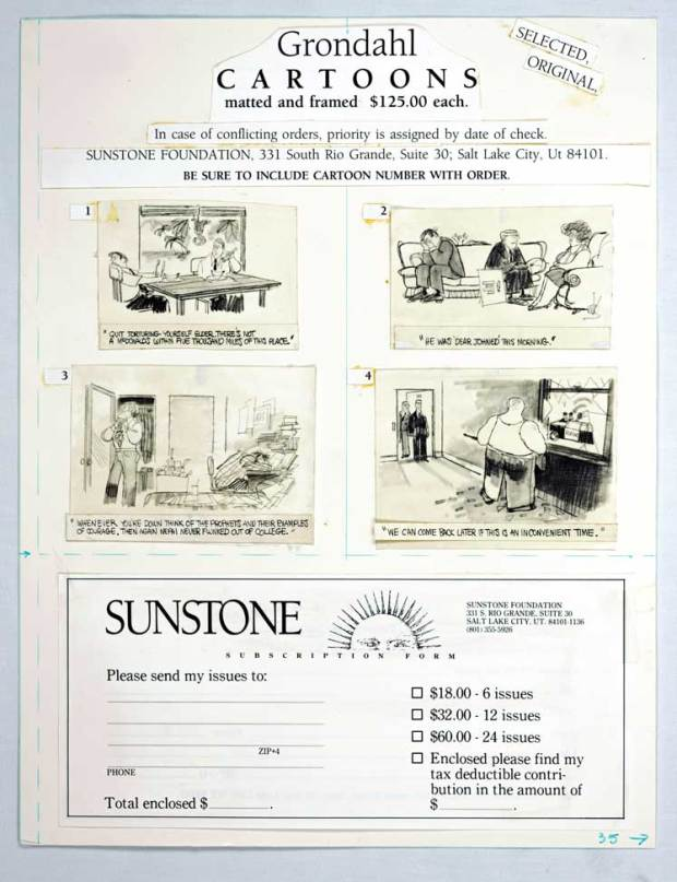 A paste-up page (or mechanical): the way magazine pages were delivered to the printer until about 2001. This page appeared in the May 1987 issue of Sunstone.