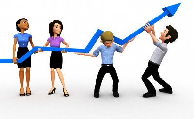 Business growth owner team struggling for success