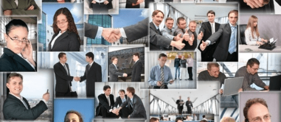 Business collage - happy clients and customers