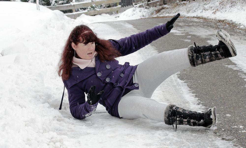 Be Careful - Woman Falling on Ice