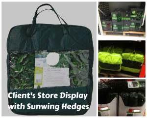 client's store display with sunwing hedges