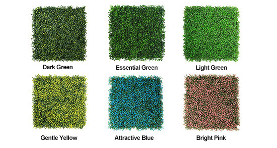 diverse colors of artificial boxwood hedge panels