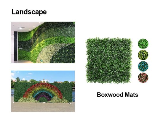 landscape of artificial boxwood mats