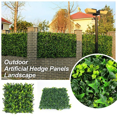 outdoor artificial boxwood hedge landscape