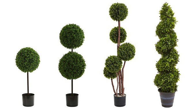 artificial boxwood topiary in pots