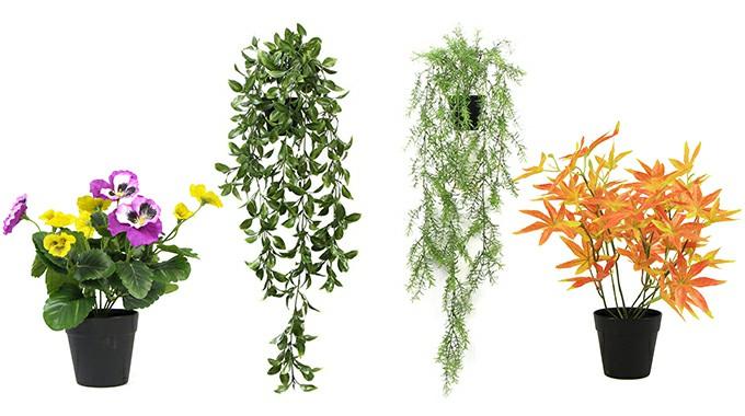 small faux plants pots