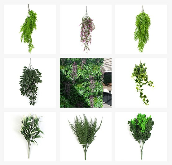 artificial single plants for green wall hanging