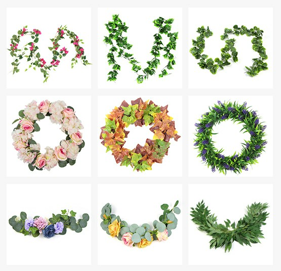 sunwing artificial PE wreaths garlands and swags