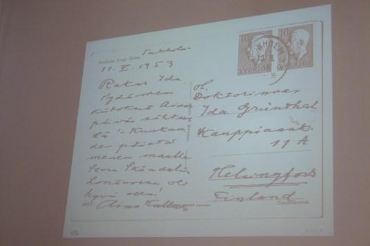 Aino Kallaksen kiitoskortti Ida Grünthalille nimipäivien muistamisesta tasan 62 vuotta sitten