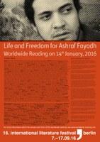 Vetoomus Asraf Fayadhin vapauttamiseksi. Kuva: ilb, Berliinin kansainvälinen kirjallisuusfestivaali