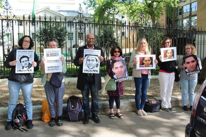 At the protest in front of Saudi Embassy in London , photo: Cat Lucas / English PEN