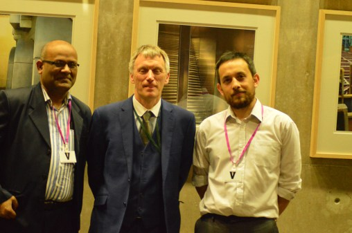Mojibur with Ivan McKee, Member of Scottish Parliament and Nik Williams of Scottish PEN.