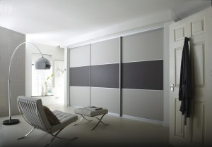 Products – Light and dark grey suede fitted sliding wardrobes