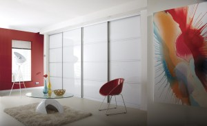 Fitted sliding wardrobes. Pure white sliding doors