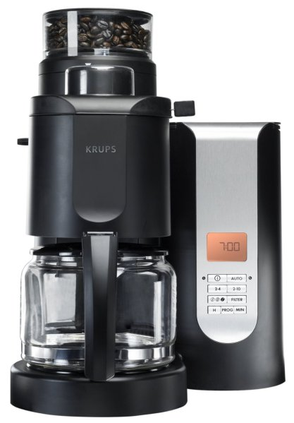 KRUPS KM700552 10-Cup Grind and Brew Coffee Maker with Stainless Steel Conical Burr Grinder