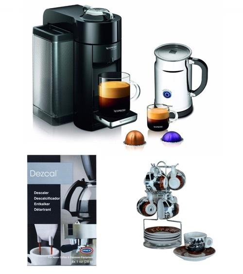 Nespresso Deluxe Coffee Maker (Black) w_ Aeroccino + Frother & Accessory Bundle