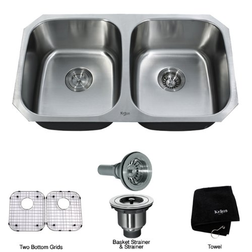 Kraus 32 inch Undermount 50_50 Double Bowl 16 gauge Stainless Steel Kitchen Sink