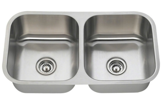 MR Direct 502A-18 Equal Double Bowl Stainless Steel Kitchen Sink