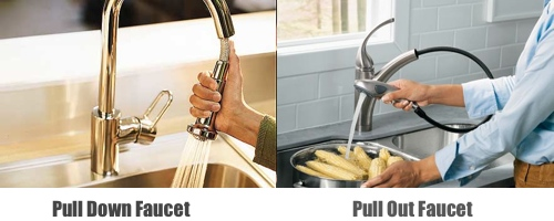 Pull down vs Pull out faucets
