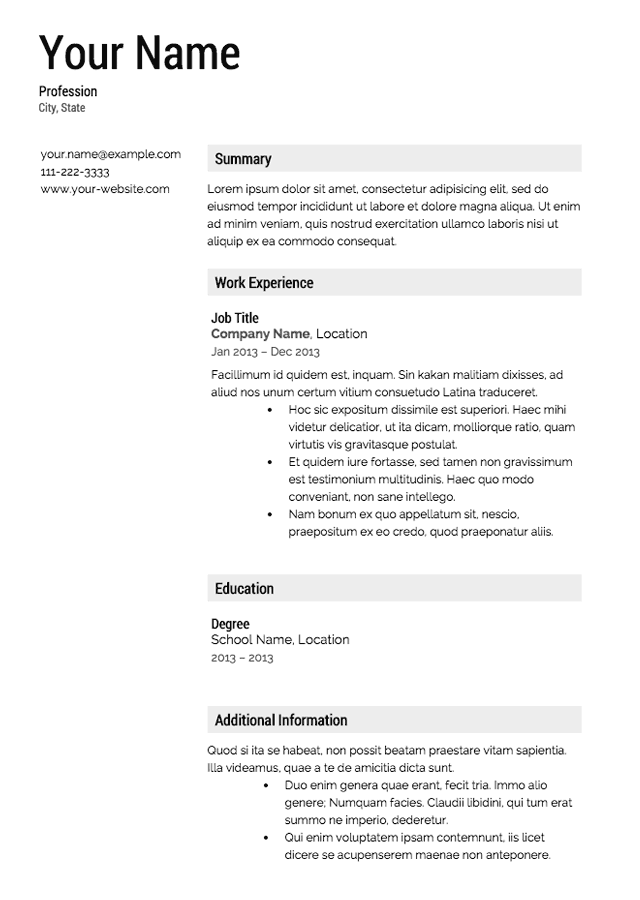 Really Good Resume Templates. 413 Free Downloadable Resume
