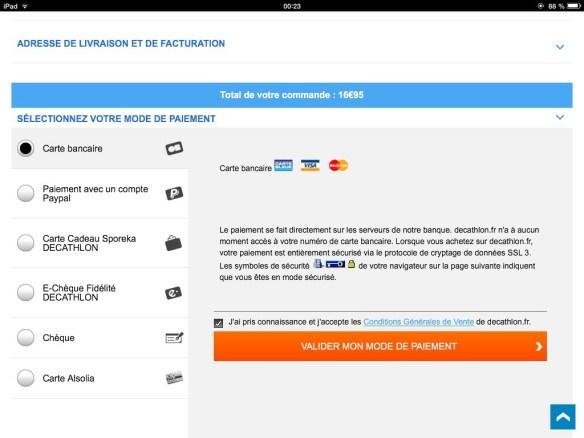 paiement  decathlon sur iPad