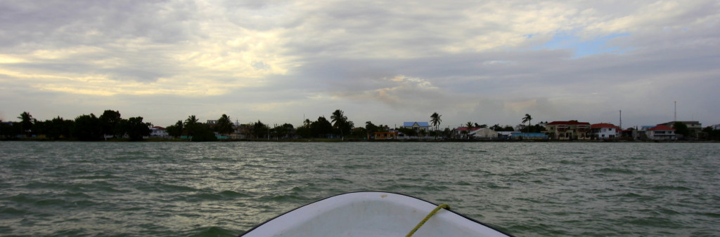 Travelling by speed boat in the Corozal Bay