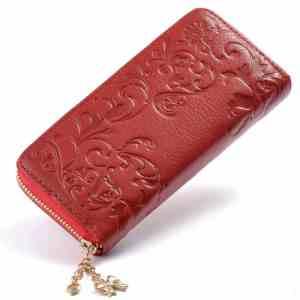 Portefeuille en cuir à motif floral pour femme