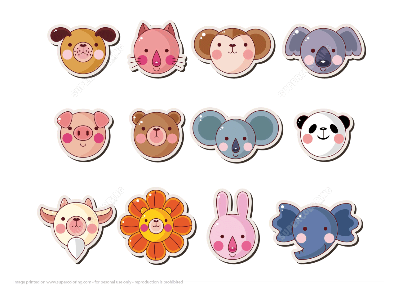 Printable Animal Face Stickers