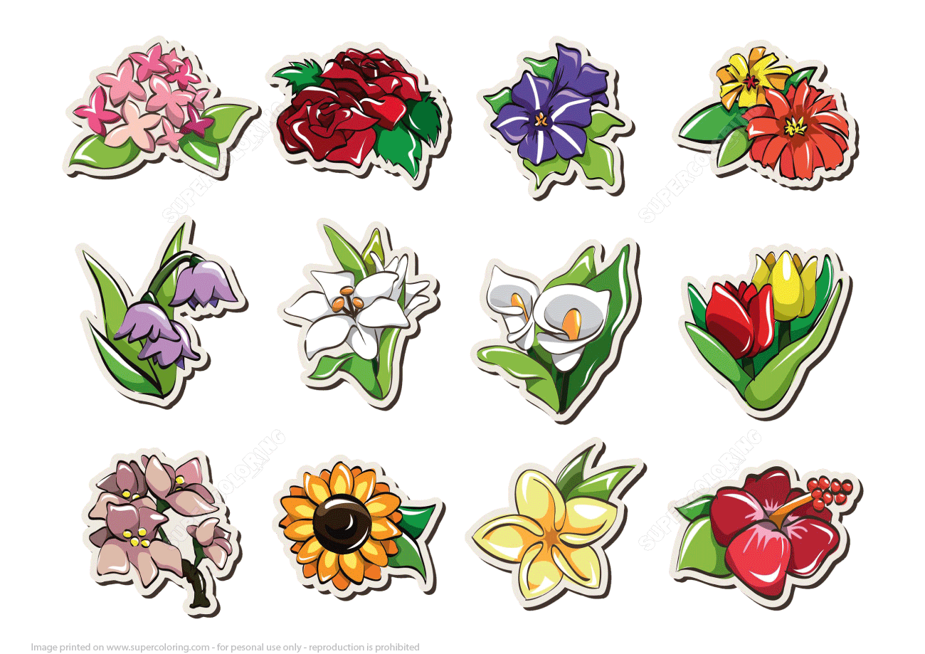 Printable Stickers With Flowers Free Printable Papercraft Templates