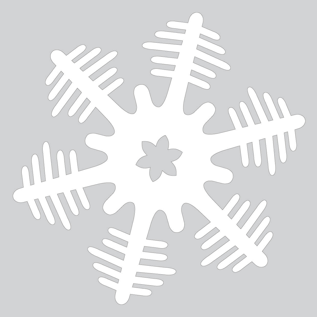 Unusual Paper Snowflake Pattern With Christmas Trees