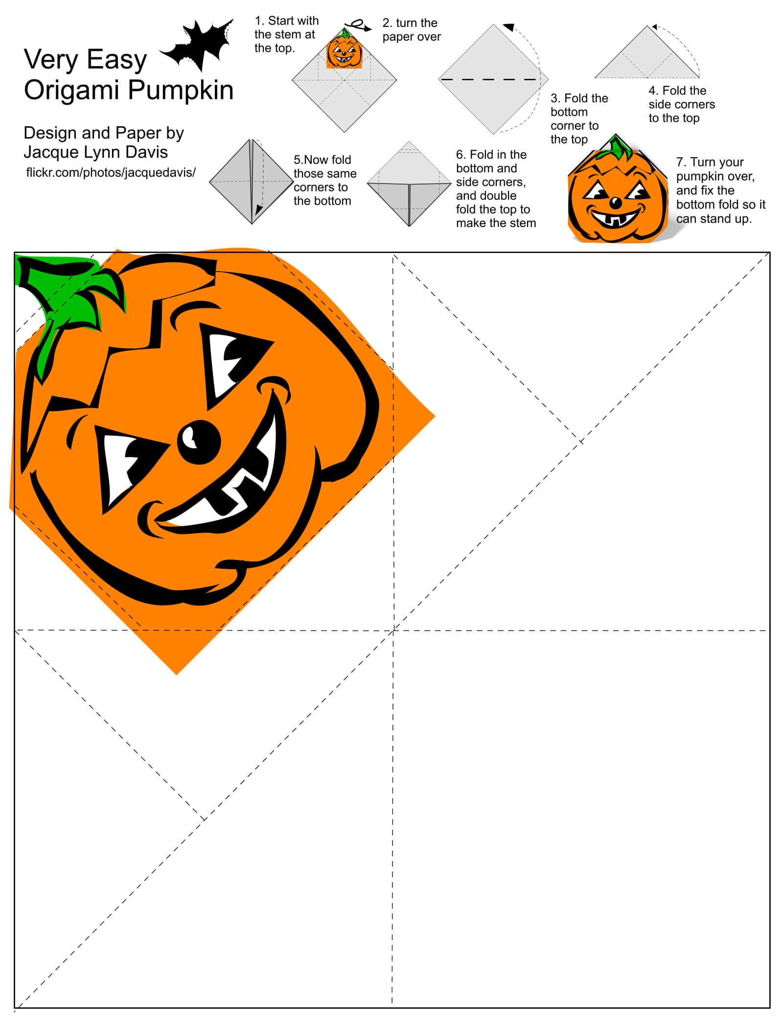 Origami Pumpkin Jack O Lantern Template With Diy