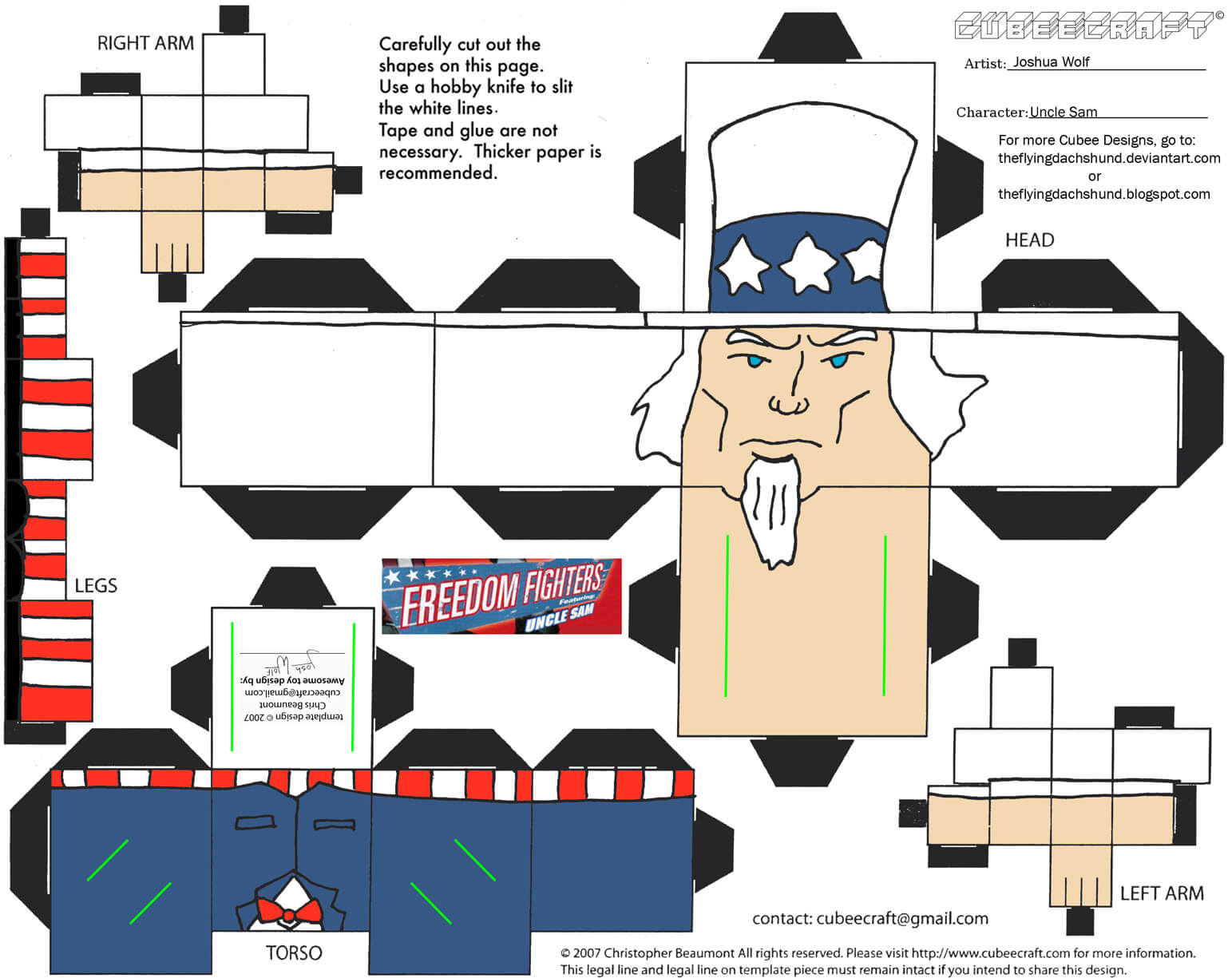 Uncle Sam From Freedom Fighters Paper Toy
