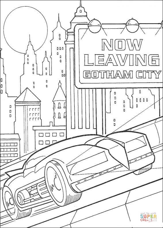 Batman Is Leaving Gotham City Coloring Page Free