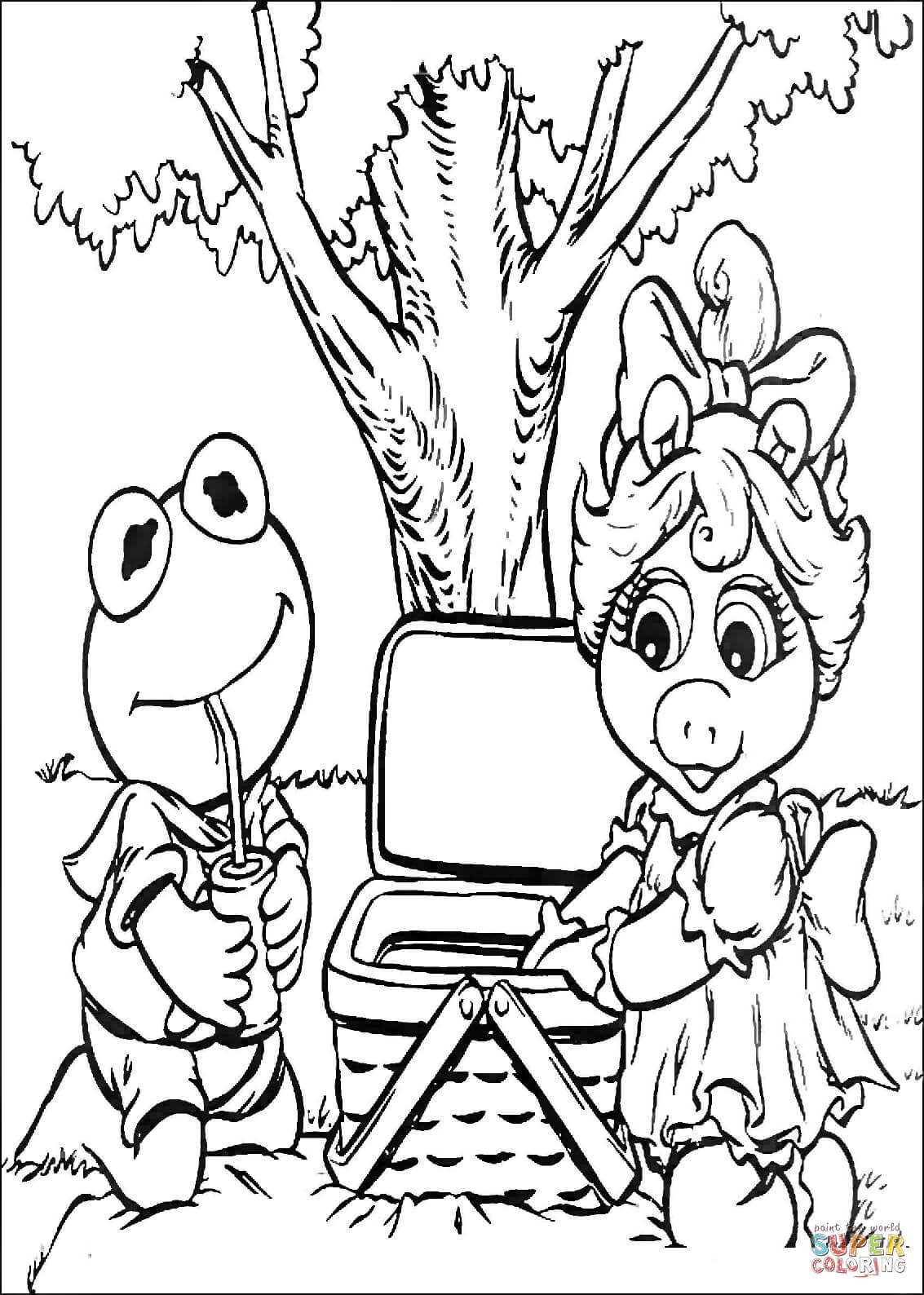 Baby Kermit And Miss Piggy On A Picnic Coloring Page
