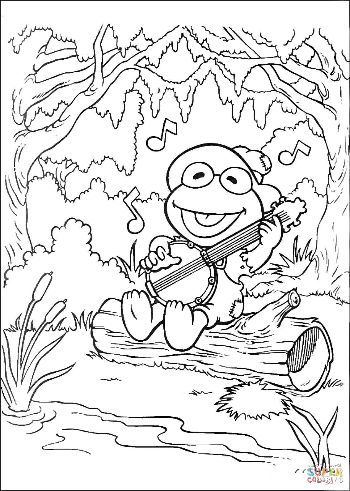 Kermit Sings A Song Coloring Page
