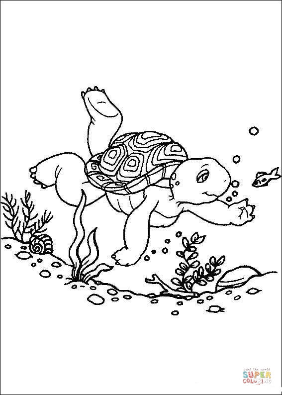 franklin is swimming in the pool coloring page  free