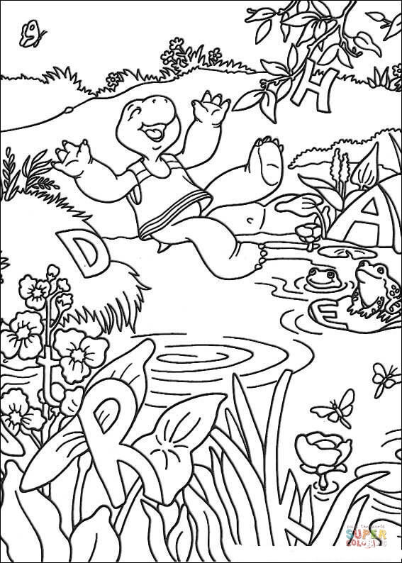 franklin swims in pool coloring page  free printable