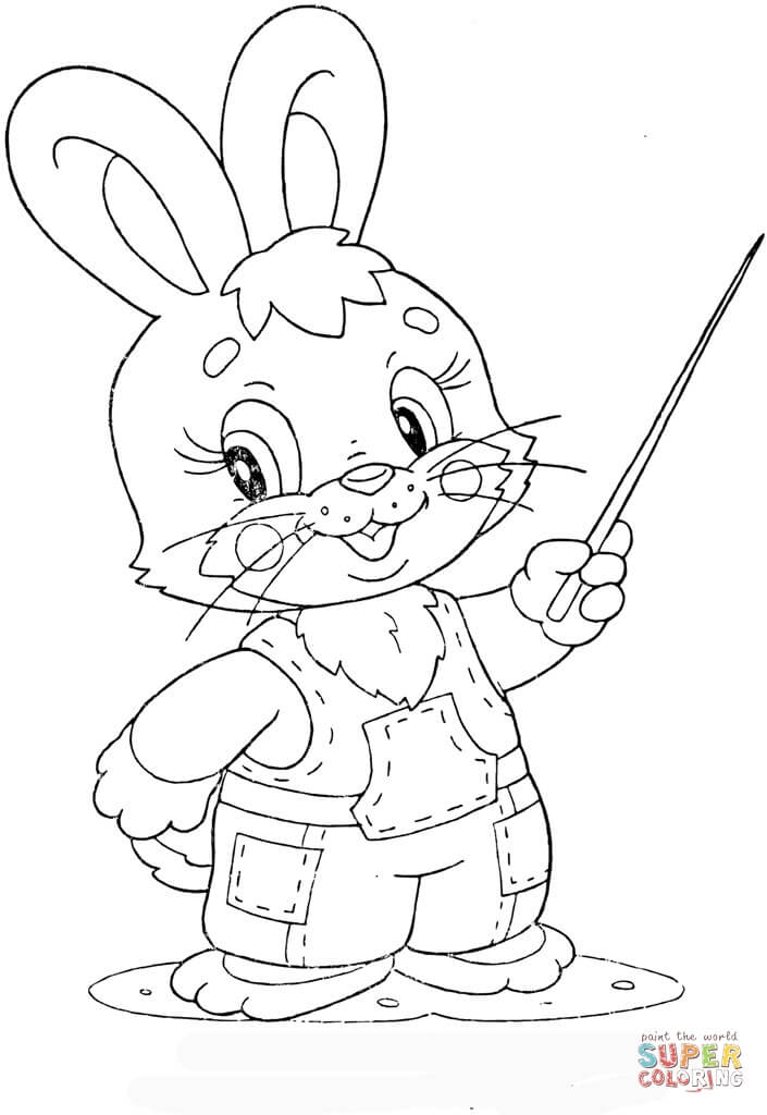 Leveret At School Coloring Page Free Printable Coloring