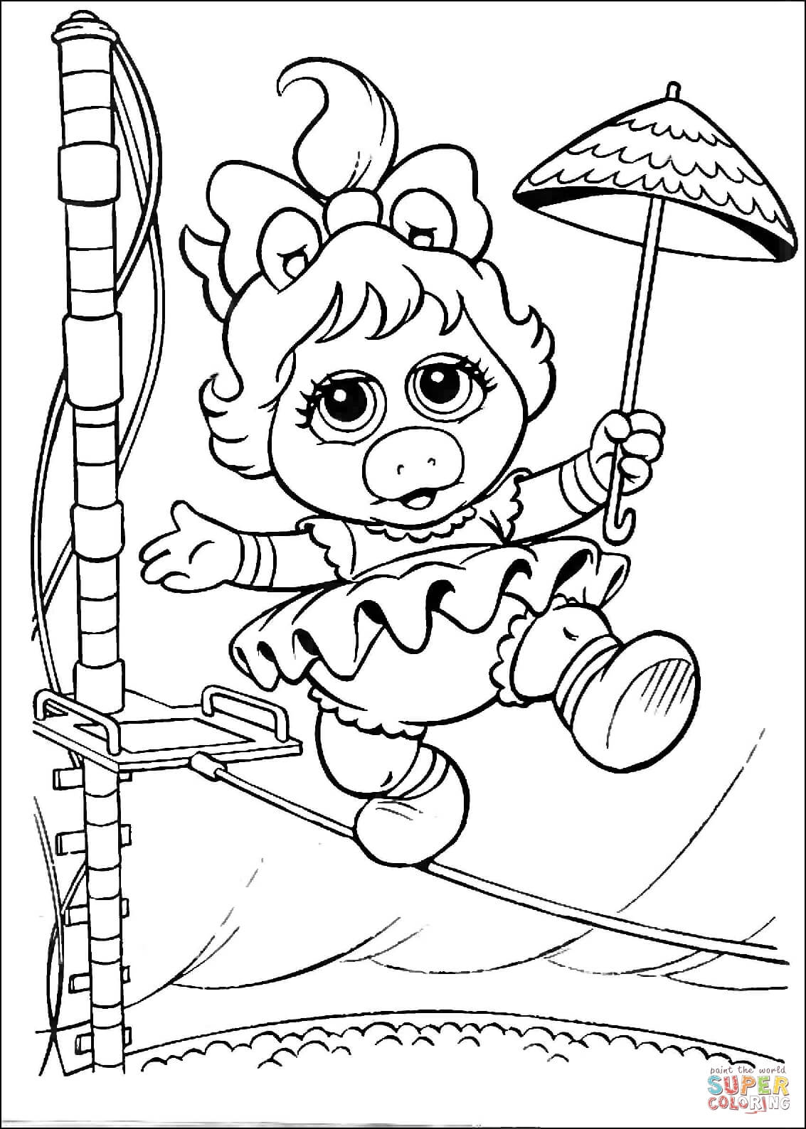 Baby Miss Piggy Is Walking On A Rope Coloring Page
