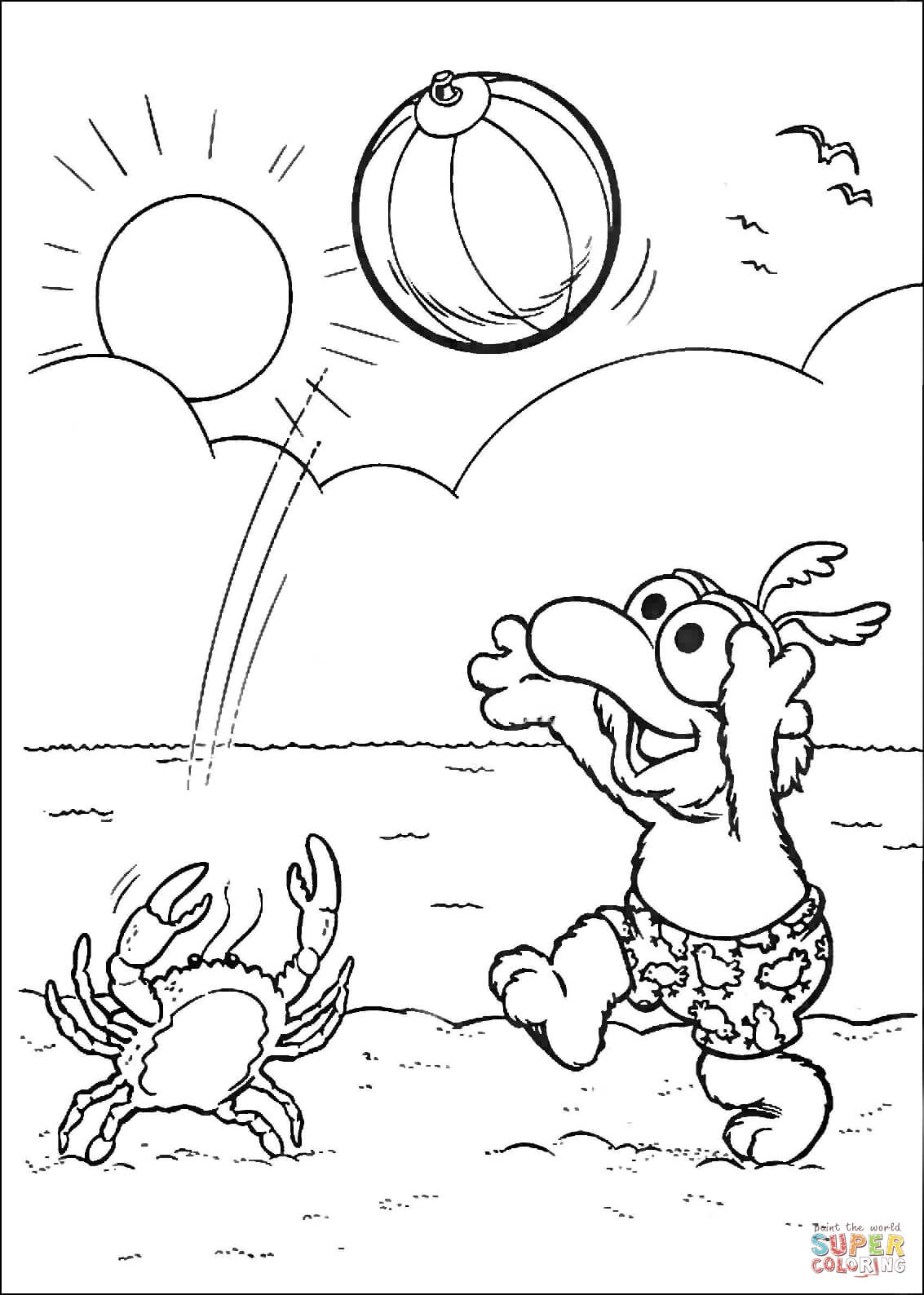 Baby Gonzo Playing Volleyball With Crab Coloring Page