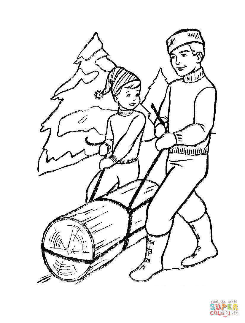 Father And Son Are Bringing Beam Coloring Page Free Printable