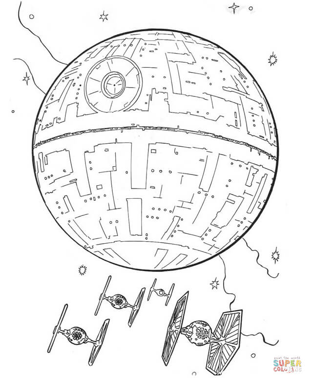 star and tie fighters coloring page free printable coloring pages