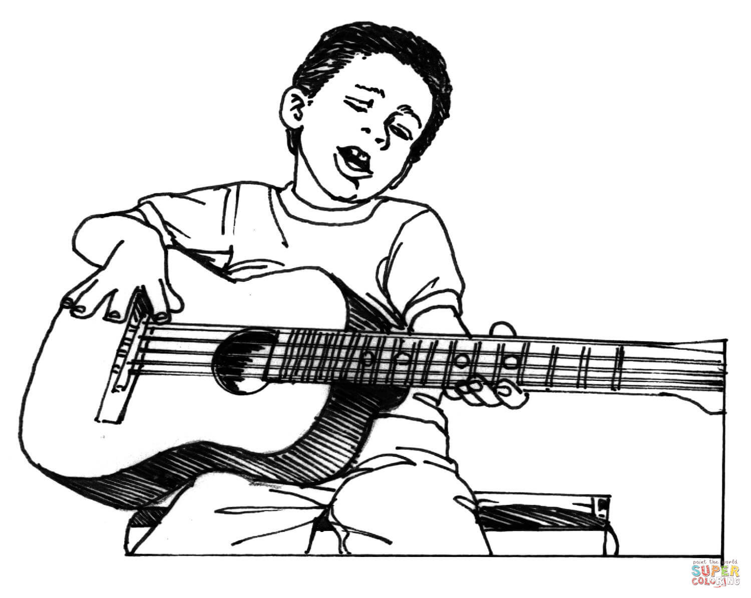 Boy Plays Guitar Coloring Page