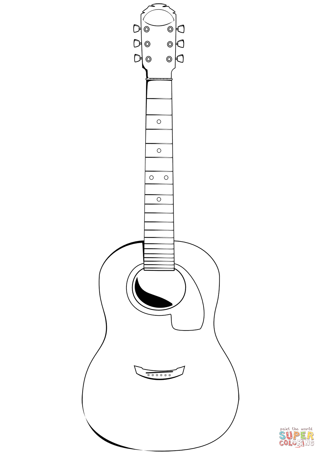 Classical Guitar Coloring Page Free Printable Coloring Pages