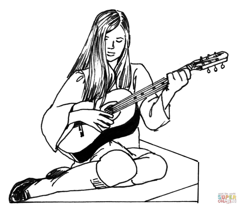 Flicka Spelar Gitarr M Larbok