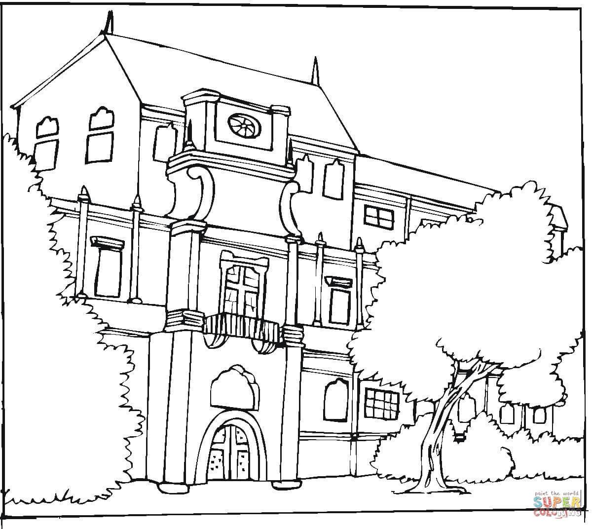 Kolorowanka Pi Kny Budynek