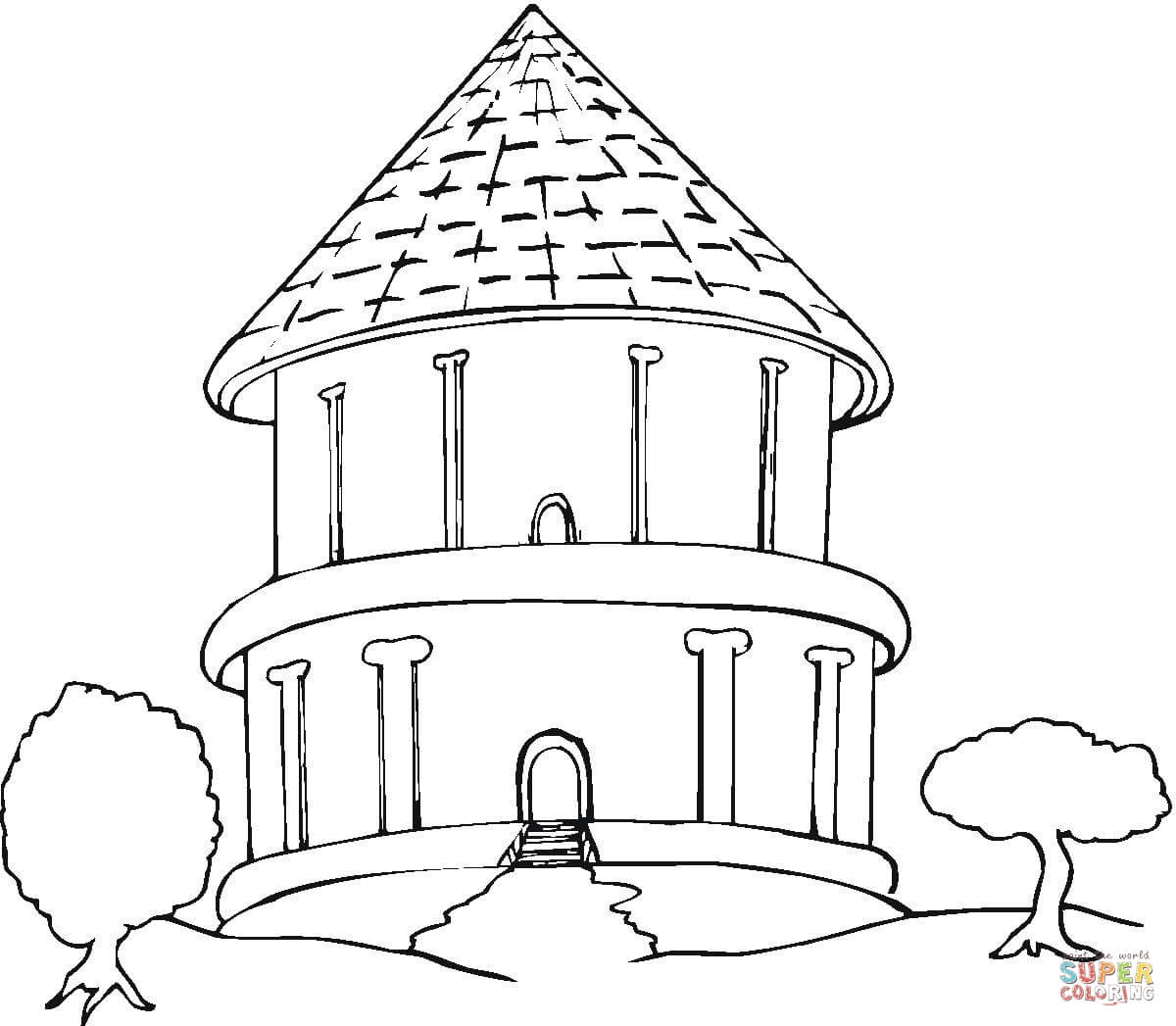 Big Round Bungalow In The Trees Coloring Page