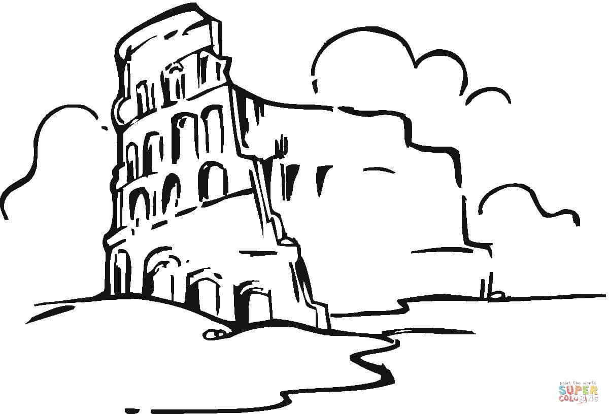 Colosseum In The Clouds Coloring Page